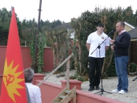Steve McCann speaking at the commemoration with Colm Donagher.