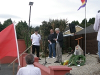 Tommy McKearney speaking at the commemoration with Steve McCann & Colm Donagher.