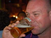Steve McCann enjoys a cold beverage after a long day touring the battlefields around Madrid