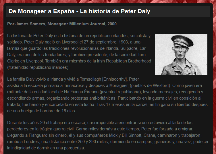 Peter Daly Website - Spanish Translation - Peter Daly Commemoration