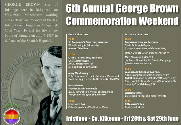 6th Annual George Brown Commemoration Weekend - Inistioge, Co. Kilkenny